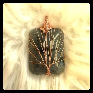 Jewelry - Jade and Copper Pendant with Tree